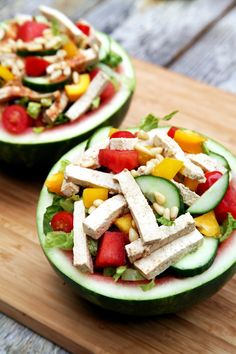 Love this idea of serving salad in a watermelon! Perfect for Summer - and this salad has watermelon in it too. Just 311 calories and over 21 grams of protein.
