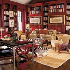 One of the most beautiful rooms I've ever seen--who designed it?  Wouldn't you love to work/read in here?