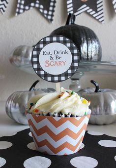 Halloween Cupcake Toppers and Wraps | Printable Party Decor