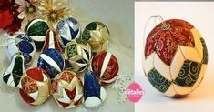 Christmas spheres with pieces of fabric Christmas Wreaths, Christmas Bulbs, Christmas Crafts, Xmas, Quilted Ornaments, Fabric Ornaments, Sewing Toys, Decoupage, Projects To Try