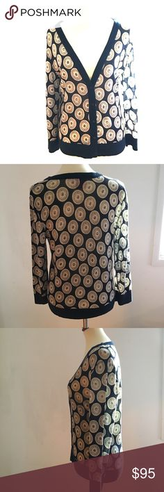 Tory Burch top Very fine 100% wool navy/white cardigan with printed motives. Cute with denim or navy blue pants. Excellent condition Tory Burch Sweaters Cardigans