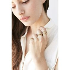Luv Aj Revel Starburst Ring Set ($130) ❤ liked on Polyvore featuring jewelry, rings, bohemian rings, boho jewelry, rhinestone jewelry, set rings and luv aj