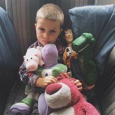 """Look Mama I have many Toy Story toys"""