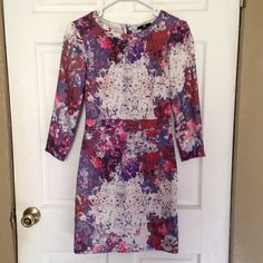 "Floral splatter dress -- pink/purple/white This is perfect for your spring wardrobe! Has a beautiful floral and paint splatter pattern. I love this dress, but I'm reposhing it because it didn't fit me quite right. Length:32"": waist: 13""; sleeve length: 18""; shoulders: 15"". Has a small seam fraying at shoulder, but is very inconspicuous and doesn't compromise structure of the dress (see photo). H&M Dresses Mini"