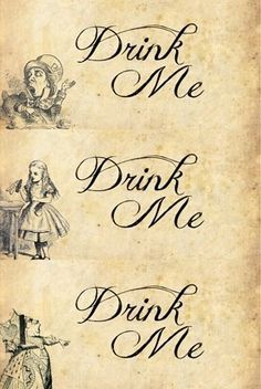 Alice in wonderland drink me tags