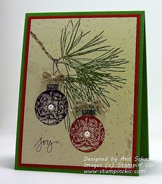 Ornamental Pine Stampin' Up! handmade Christmas card from The Stampin' Schach . country feel the deep burgundy and green . pine branch and two ornaments perfectly balanced . Homemade Christmas Cards, Christmas Cards To Make, Noel Christmas, Xmas Cards, Handmade Christmas, Homemade Cards, Holiday Cards, Christmas Crafts, Stampin Up Weihnachten