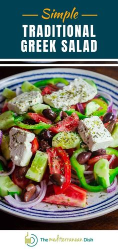 You'll love this simple and traditional Greek Salad with ripe tomatoes, crisp cucumbers, bell peppers, onions, black olives and creamy feta. It is a perfect light dinner or make it for a side that is sure to impress! #greeksalad #greekfood #sidedish #lightlunch Easy Mediterranean Recipes, Mediterranean Dishes, Mediterranean Style, Vegetarian Recipes Easy, Good Healthy Recipes, Delicious Recipes, Easy Recipes, Greek Chicken Recipes, Greek Salad Recipes