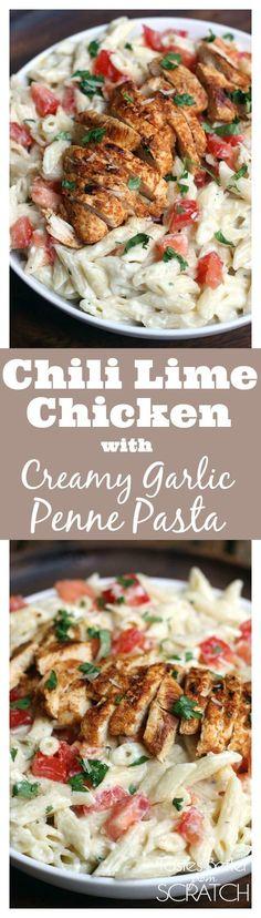 Chili Lime Chicken with Creamy Garlic Penne Pasta on TastesBetterFromScratch.com