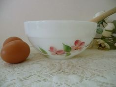 Pretty Vintage Hand Painted Fire-King Oven Ware Mixing Bowl With Pink Flowers by MossyCottage on Etsy