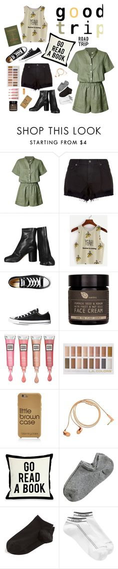 """My road trip essentials"" by mountainrose ❤ liked on Polyvore featuring rag & bone, Maison Margiela, Converse, AMBRE, Barlow, Bloomingdale's, Happy Plugs, One Bella Casa, Wolford and Calvin Klein"