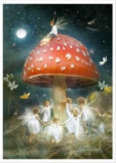 Tiny fairy children dancing around a toadstool. Painting by Charlotte Bird.