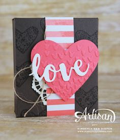 Ghirardelli chocolate box with template by Kimberly: Sealed with Love, Succulent Gardens dsp, Sunshine Wishes Thinlits, Falling Petals embossing folder - all from Stampin' Up!
