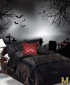 Gothic bedroom. Dark art. Goth lifestyle. Bats. Scary trees. Alternative beauty.
