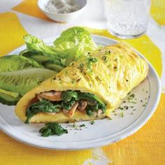 Mushroom and Spinach Omelet  Nutritional Information Calories 244 Fat 16 g Satfat 5.5 g Monofat 6.9 g Polyfat 2.5 g Protein 16 g Carbohydrate 11 g Fiber 3 g Cholesterol 380 mg Iron 4 mg Sodium 591 mg Calcium 96 mg