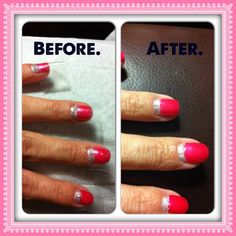 How to extend the life of a gel manicure. Cover the nail with Scotch tape and add a reverse French tip in any coordinating color then cover with Gelous Nail Gel 2X and Diamond Top Coat 1X.