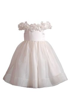 Kleinfeld Pink 'Nicole' Off the Shoulder Dress (Toddler Girls & Little Girls)