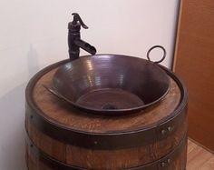 Whiskey Barrel Sink-Darker Finish-Copper Vessel Sink-Bronze Waterfall Faucet-FREE SHIPPING