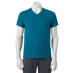 Men's Apt. 9® Premier Flex V-Neck Tee, Size: Medium, Turquoise/Blue (Turq/Aqua)