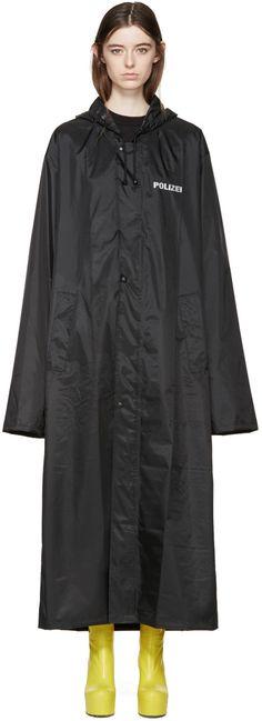 Vetements - Black Oversized Polizei Rain Coat