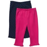 Versatile 2-pack cotton pull-on pants are made to pair with a variety of tees and bodysuits for easy outfitting.