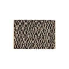 Tapis tissé en jute et cuir à motifs ethniques. Personnalisez votre intérieur et peaufinez votre déco, avec ce tapis tendance.  Dimensions (cm) : H60 x L90