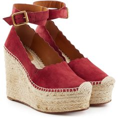 Chloé Suede Wedges (620 AUD) ❤ liked on Polyvore featuring shoes, sandals, red, wedges shoes, suede wedge sandals, ankle tie sandals, bohemian sandals and red wedge sandals