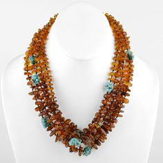 Five Layer Amber Turquoise Necklace
