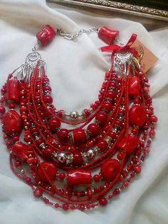 Red coral and red beads multi layer necklace!
