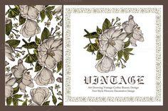 Set. Flowers rosehip. Card, frame. by Vintage on @creativemarket