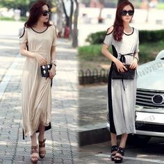 Korean Fashion Women's Cotton Evening Cocktail Party Off Shoulder Short Sleeve Splicing Long Dress Dress Link, Dress P, Girl Fashion, Womens Fashion, Fashion Design, Fashion Trends, Evening Cocktail, Pretty Dresses, Everyday Fashion