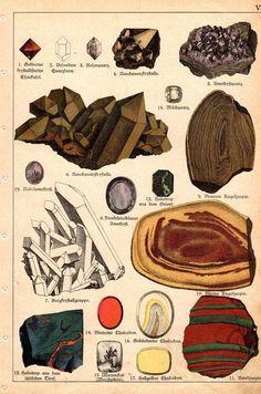 Items similar to 1888 Antique Print Geology Rocks Minerals Geological German Lithograph on Etsy Science Illustration, Botanical Illustration, Nature Illustration, Antique Prints, Vintage Prints, Poster Prints, Framed Prints, Canvas Prints, Wicca