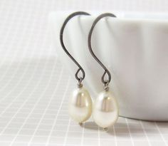 Pearl Earrings : Simplicity, Cream + Antiqued Silver