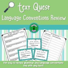 Fun way to have your students review a variety of language conventions! Use any text to search for examples of many grammar and language topics such as compound sentences, adjectives, adverbs, synonyms, homophones, metaphors and much more.