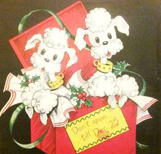 Vintage Wrapping Paper  Christmas Poodles by TillaHomestead, $5.00