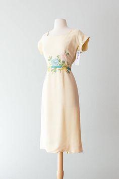 Vintage 1950s Dress  Nat Tumen Original 50s Buttercream Linen