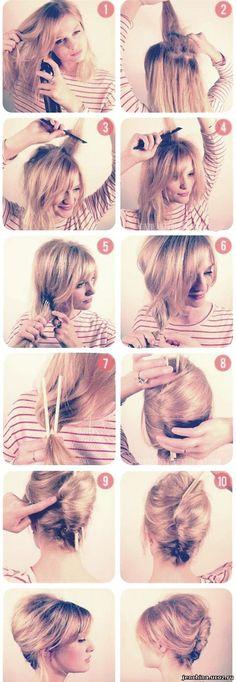 夜会巻き / ■1-4.髪に逆毛を立てていく。■5-6.髪をひとつにまとめて片サイドへ集め、毛先の近くゴムで結わえる。■7.ゴムのところを割り箸で挟む。■8.割り箸を縦向きに軸にして、毛先を内側に巻き込みながら髪を巻いていく。■9.巻き終わったら地の髪にピンで固定する。■10.割り箸を抜き取る。