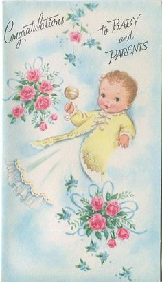 VINTAGE NEW BABY RATTLE ROSES YELLOW WHITE CHRISTENING DRESS GREETING CARD PRINT in Collectibles, Paper, Other Paper Collectibles | eBay