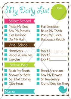 Kid's Editable Daily List and Chore Chart