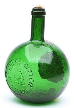 green bitters bottle | Bitters Bottle; Herkules Bitter, Globular Ball, Emerald Green, Label ...
