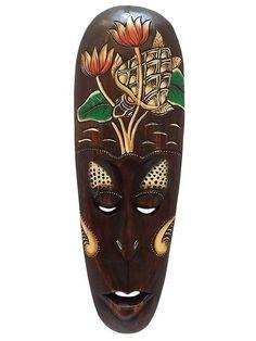 Máscara em Madeira Lombok Nature 50cm - http://www.artesintonia.com.br/mascara-em-madeira-lombok-nature-50cm