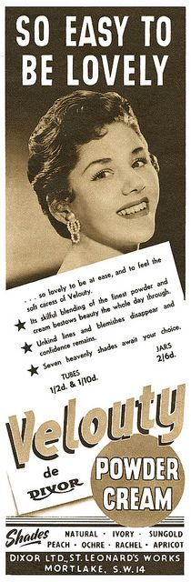 It's so easy to be lovely! Velouty Powder Cream advertisement, 1955. #vintage #1950s #beauty #cosmetics #ads