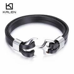 >> Click to Buy << Kalen New Men's Leather Bracelets Fashion  Stainless Steel Anchor Charm Personalised Bracelet For Small Wrist Punk Accessory #Affiliate