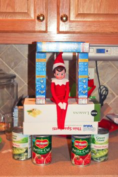 Carson's, our Elf on the Shelf, food tower to donate to the food bank