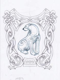 celtic bear tattoo by 6RI22L7