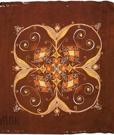Wojciech Jastrzębowski, batik on silk, Warsztaty Krakowskie, 1915  #batik #silk #warsztatykrakowskie #poland #fabrics