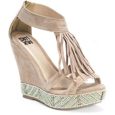 MUK LUKS Ciara Women's Tan Sandal ($60) ❤ liked on Polyvore featuring shoes, sandals, tan, platform sandals, tan sandals, tan wedge shoes, platform wedge sandals and wedge heel sandals