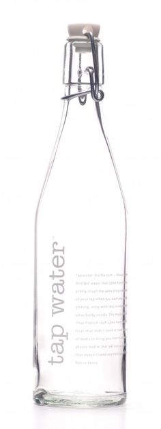 Package | Drink | Water | Clear glass bottle with stopper. I like that this bottle is completely cleanable and reusable as well.