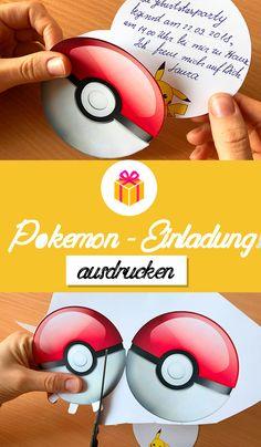 Einladungen für Pokemon Kindergeburtstag selbst basteln. Kostenlose Vorlagen zum Ausdrucken. 🎈 Free Pokemon Party Printables 🎈 Pokeball als Einladungskarte 🎈 DIY Pikachu Einladung 🎈