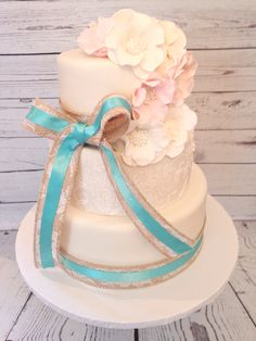 Rustic Chic Wedding Cake by Amy Hart