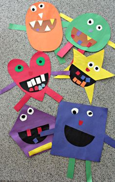 Shape Monsters are an easy way to teach shapes and colors to kids and make a great Halloween craft. This shape monster craft is easy to put together and lots of fun to create! Perfect for preschoolers and kindergarteners. From livewellplaytogether.com   #shapemonsters #teachingshapes #shapesactivity #preschoolshapes #learnshapes #halloweencrafts